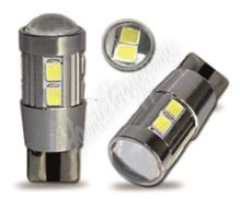 952007cb LED T10 bílá, 12V, 10LED/5630SMD s čočkou