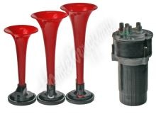 sn-023/12Vred 3-tónová fanfára 220mm, 12V červená s kompresorem ECE R28