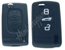 481PG104bla Silikonový obal pro klíč Peugeot, Citroën, 3-tlačítkový, černý