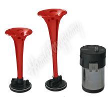 sn-022/12V 2-tónová fanfára 220mm, 12V s kompresorem červená ECE R28