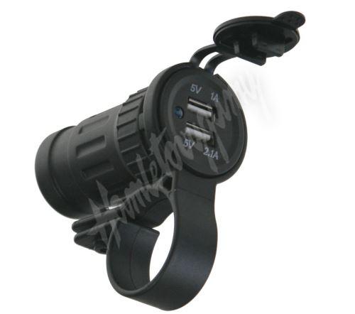 34549 2xUSB zásuvka voděodolná na řidítka / trubku