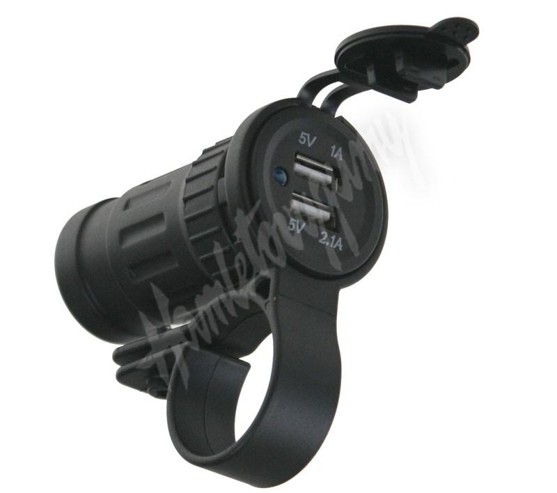 34549 2xUSB zásuvka voděodolná na řidítka   trubku f896587136
