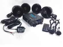 rsm104bl 4.1CH zvukový systém na motocykl, skútr, ATV, loď s FM, USB, AUX, BT, černé