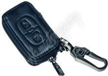 483PG102 x Kožený obal se zipem černý pro klíč Peugeot, Citroën, 2-tlačítkový (48PG102)
