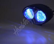 wa-008b PROFI LED výstražné bodové světlo 10-48V 2x4W modré 143x122mm, ECE R10