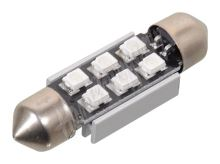 Žárovka 6 SMD LED 12V suf. SV8.5 38mm s rezistorem CAN-BUS modrá