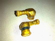 Ventilek alu bezdušový zahnutý moto Zlatý 11,3 mm