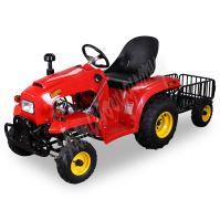 Dětský čtyřtaktní zahradní traktor s přívěsem 110ccm cerveny